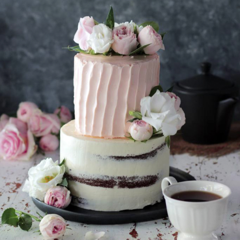 PINK CHOCOLATE FLOWER CAKE